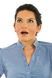 Surprised executive woman looking up Royalty Free Stock Photos