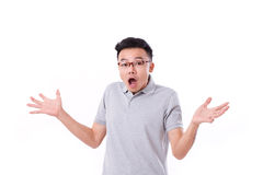 Surprised, exited, stunned asian man Royalty Free Stock Image