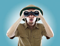Surprised Explorer Looking Through Binoculars Stock Photos