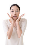 Surprised face. Asian woman with surprised face, closeup portrait on white background Royalty Free Stock Photography