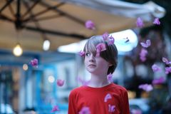 Surprised face of the child among the falling petals. Of flowers royalty free stock image