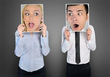 Surprised Face Of Woman And Man Stock Photos