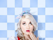 Surprised face of a young cosmetic pinup woman Royalty Free Stock Photo