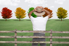 Surprised farmer looking at trees. Holding his head Royalty Free Stock Photography