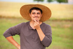 Surprised farmer Royalty Free Stock Photo