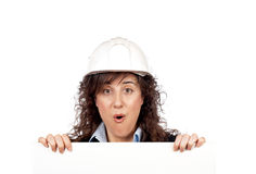 Surprised female architect Stock Photo