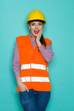 Surprised Female Construction Worker Stock Images