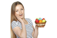Surprised female holding basket with Easter eggs Stock Images