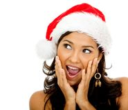 Surprised female Santa Royalty Free Stock Image