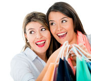Surprised female shoppers Royalty Free Stock Photography