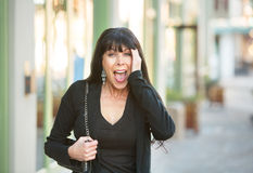 Surprised Female on Street Royalty Free Stock Image