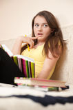 Surprised female student Stock Photography