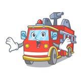 Surprised fire truck mascot cartoon. Vector illustration Stock Photo