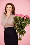 Surprised with flowers Royalty Free Stock Photo