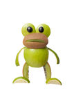 Surprised frog made of apple and kiwi Stock Photo