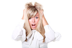 Surprised and frustrated beautiful woman Royalty Free Stock Images