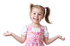 Surprised funny child girl on white background Royalty Free Stock Images