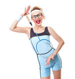 Surprised funny fit woman playing with recket Royalty Free Stock Photography