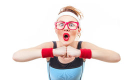 Surprised funny fitness woman ready for gym. Isolated on white background Stock Photography