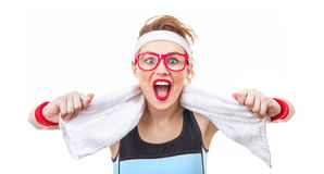 Surprised funny fitness woman ready for gym Royalty Free Stock Images