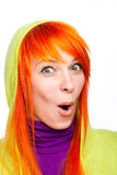 Surprised Funny Red Hair Woman With Open Mouth Stock Image
