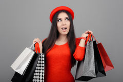 Surprised Funny Woman with Shopping Bags Stock Photography