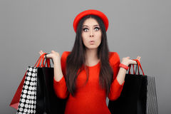 Surprised Funny Woman with Shopping Bags Royalty Free Stock Photography