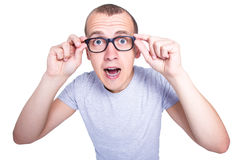 surprised funny young man in glasses with braces on teeth isolated on white stock images