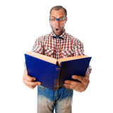 Surprised geek reading book on white background Royalty Free Stock Photo