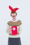 Surprised geeky hipster opening present Stock Image