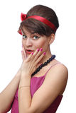 The surprised girl. With a red tape on a head Stock Image