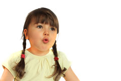 Surprised girl. On the white background Royalty Free Stock Photography