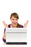 Surprised girl. Surprised young woman with laptop Stock Images
