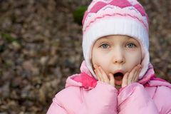 Surprised Girl!. Cute little girl holds her hands to her mouth in surprise and amazement Royalty Free Stock Photos
