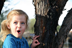 Surprised Girl. Little Girl in Blue with Suprised Look Stock Photos
