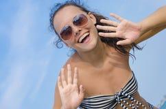 Surprised girl in a bikini Royalty Free Stock Photo