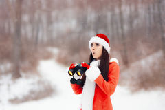 Surprised Girl with Binoculars Looking for Christmas Stock Photos