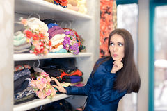 Surprised  Girl in Blue Trench Coat Shopping Royalty Free Stock Images