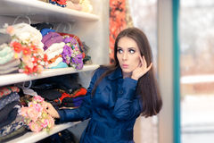 Surprised  Girl in Blue Trench Coat Shopping Stock Photos