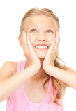 Surprised girl. Bright picture of surprised girl over white Royalty Free Stock Images