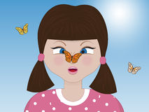 Surprised girl with butterfly Royalty Free Stock Photo
