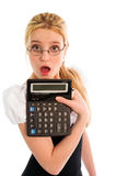 Surprised girl with calculator stock photography