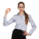 Surprised girl with chicken egg on a white background Stock Photos