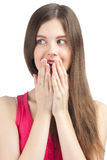 Surprised girl covering her mouth Royalty Free Stock Photography