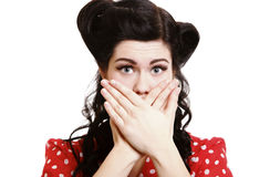 Surprised girl covering her mouth by the hands Stock Photography