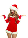 Surprised girl dressed as Santa Royalty Free Stock Photos