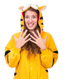 Surprised girl dressed as a tiger Stock Photos