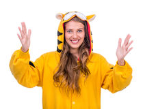 Surprised girl dressed as a tiger Royalty Free Stock Images