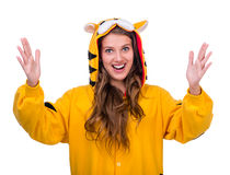 Surprised girl dressed as a tiger Royalty Free Stock Photo