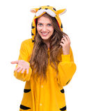 Surprised girl dressed as a tiger Stock Image